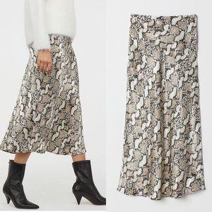 H&M snake skin midi skirt
